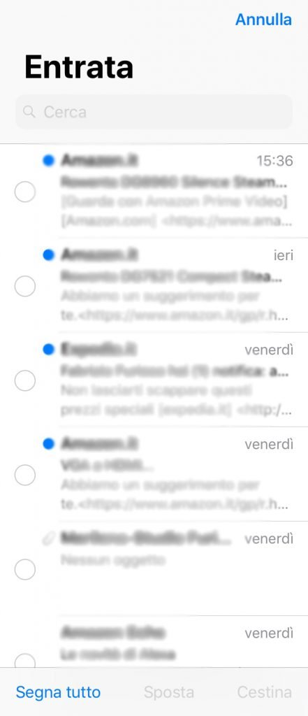 eliminare tutte le email su iPhone