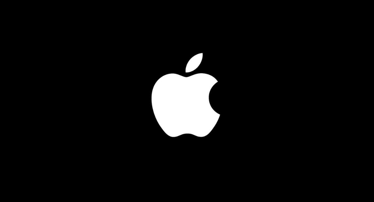 Logo Apple su sfondo nero